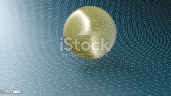 istock Abstract golden semi-transparent sphere on a blue surface - 3D rendering illustration 1170718932
