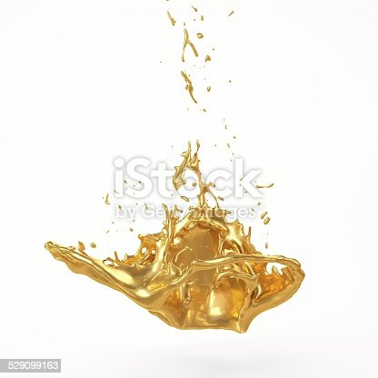 istock Abstract Golden Shape, Melt Gold Isolated 529099163