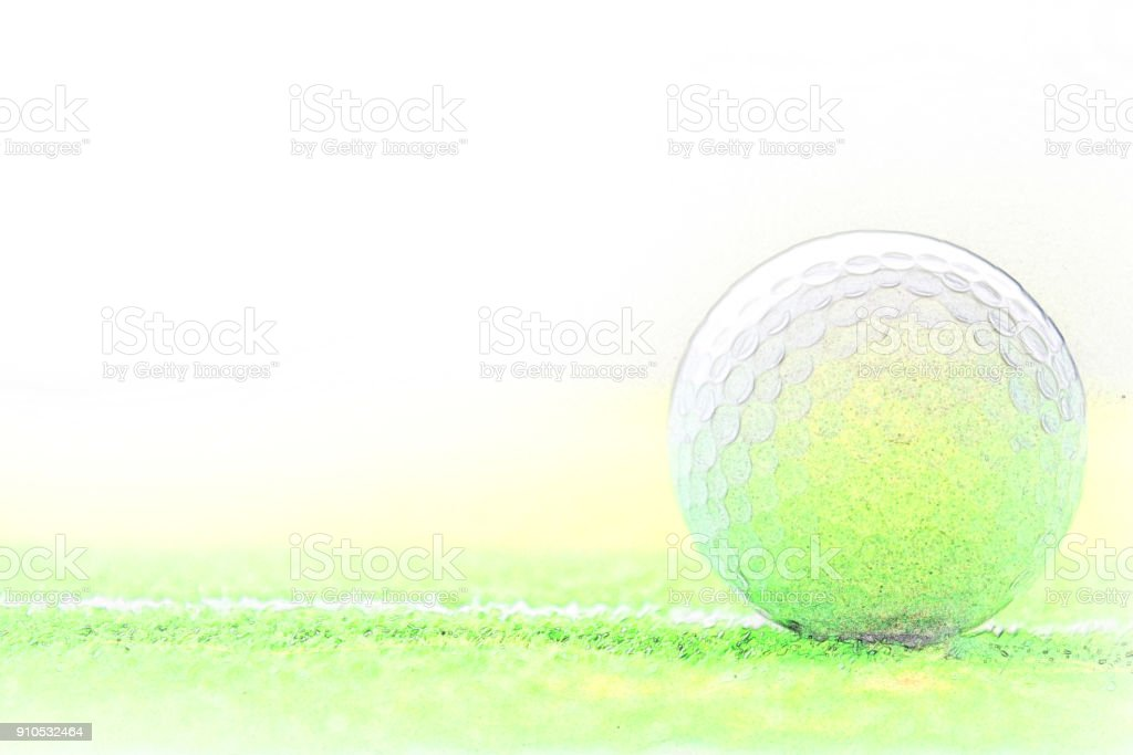 Abstract Golf ball on watercolor painting background. stock photo