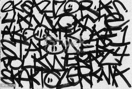istock Abstract Graffiti Gibberish on texture 91517528