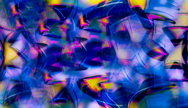 Abstract graffiti imitation in digital collage. Expressive style stock photo