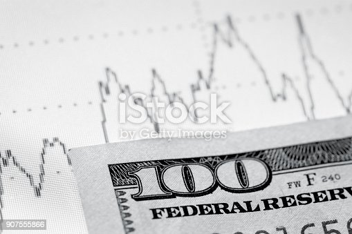 istock Abstract graph and dollars 907555866