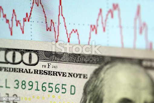 istock Abstract graph and dollars 907999634