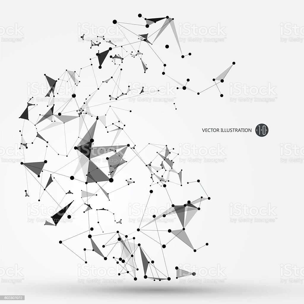 Abstract graphic consisting of points, lines and connection, Internet technology. stock photo
