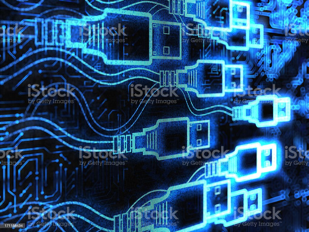 Abstract graphic illustration of USB connectors stock photo