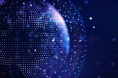 istock Abstract graphic world map illustration on blue background, big data and networking concept. 3D Rendering 1294021851