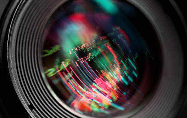 abstract graphics reflection in  lens - camera lens stock photos and pictures