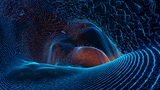 Gravity wave - 3d rendered image. Hologram view, physical process. Futuristic illustration.