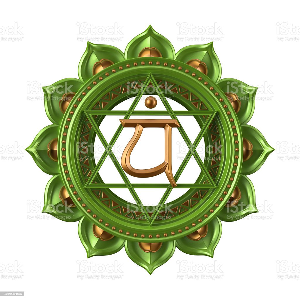 abstract green Anahata chakra symbol, 3d modern illustration stock photo