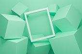 幾何学的形状の抽象的な緑の背景テクスチャ。3D立方体壁。白い額縁と緑のパステル表彰台のシーンコンセプトを持つ最小限のモックアップ。Web サイト上のディスプレイ製品の 3d レンダリン