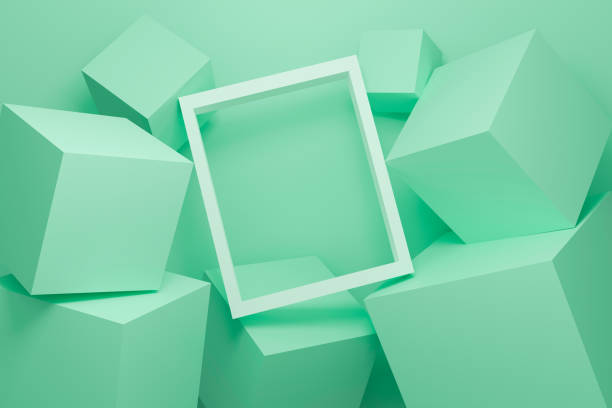 Abstract green background texture with geometric shape. 3d cube wall. Minimal mockup with white picture frame and green pastel podium scene concept. 3d render design for display product on website. stock photo