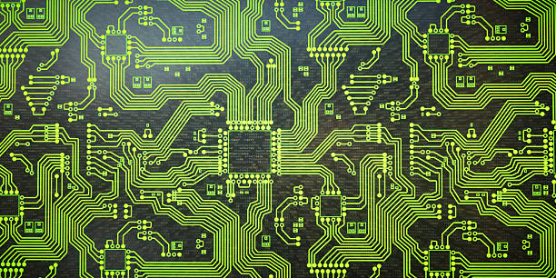 abstract green circuit network - mother board stock photos and pictures