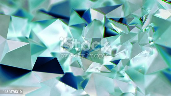 Abstract green transparency crystal geometric with chromatic aberration reflection effects background