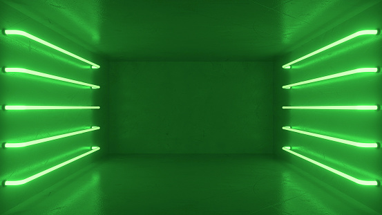 Abstract green room interior with green glowing neon lamps, fluorescent lamps. Futuristic architecture background. Box with concrete wall. Mock-up for your design project. 3d rendering