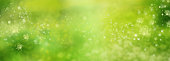 Abstract green nature view in spring. Flower dust in sunny garden. Spring motif with space for design and text. Background for easter and pentecost.