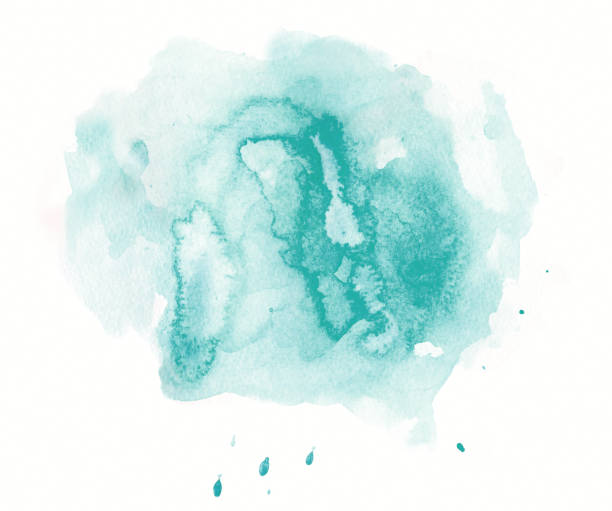 Abstract green / teal watercolor spot stock photo