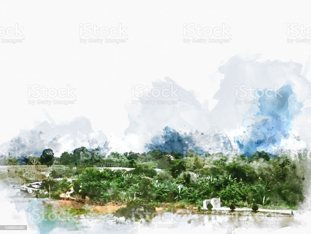Abstract green tree landscape and blue sky on watercolor illustration painting background. stock photo