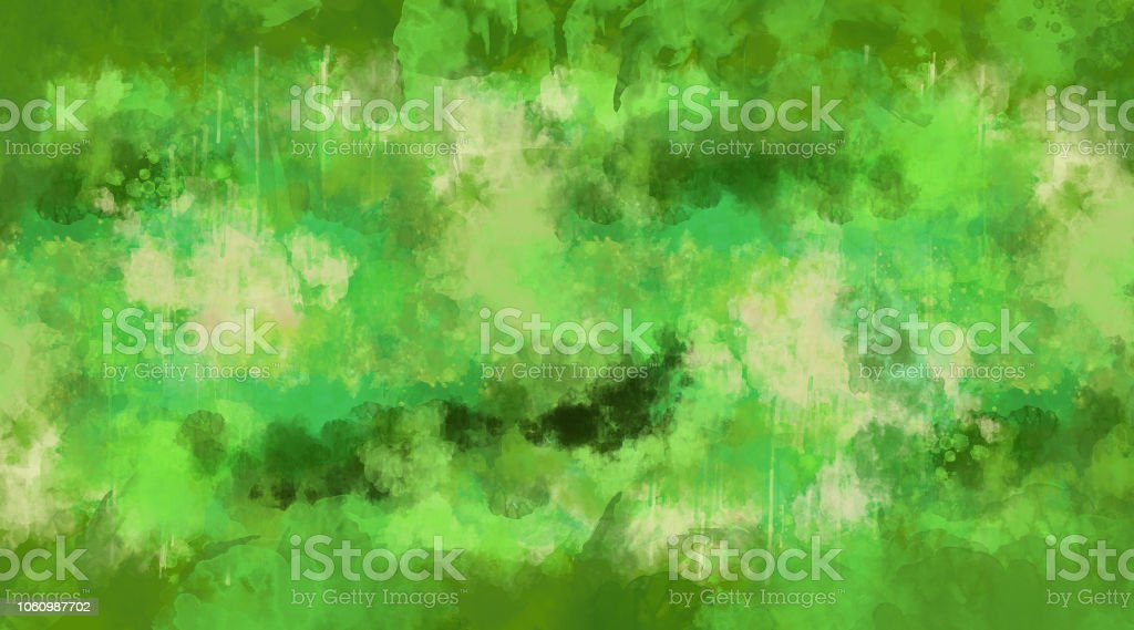 Abstract green watercolor background. Bright multi colored spots. stock photo