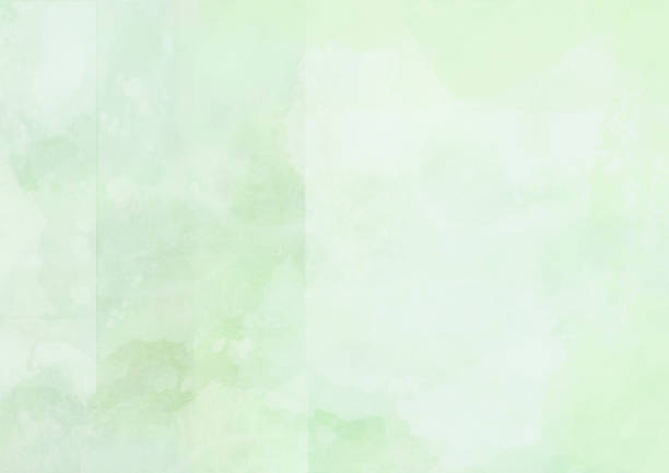 Abstract green watercolor painted landscape background stock photo