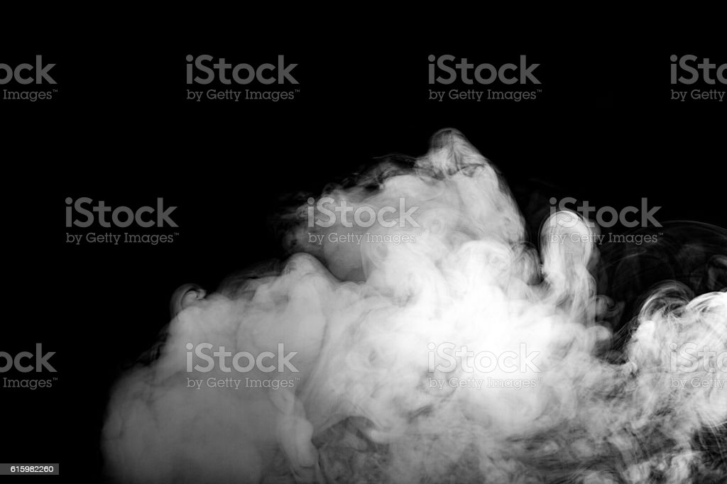 Abstract grey color smoke isolate on black color background. stock photo