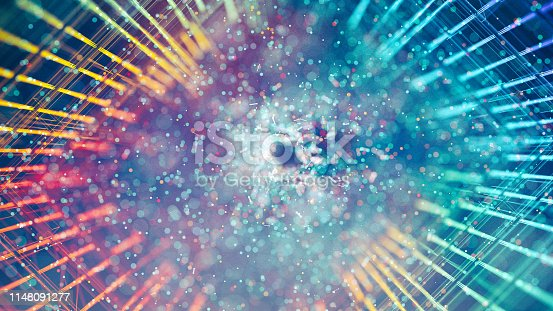 Abstract glowing grid background with particles in the center