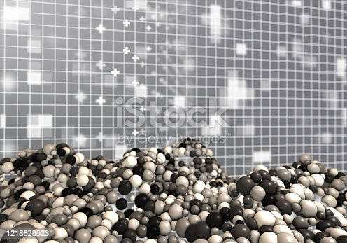 1017196524 istock photo Abstract grid surrounded by glowing particles and different spheres 1218628523