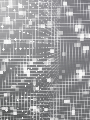 1148091793 istock photo Abstract grid surrounded by glowing particles 1218629217