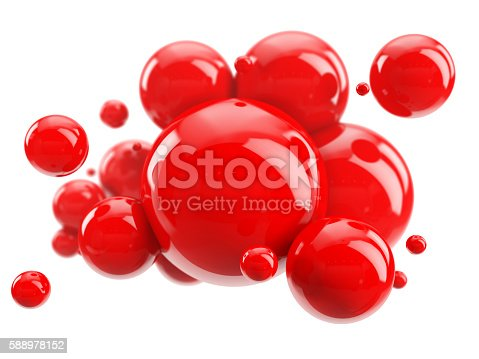 istock abstract group of red spheres on white 588978152