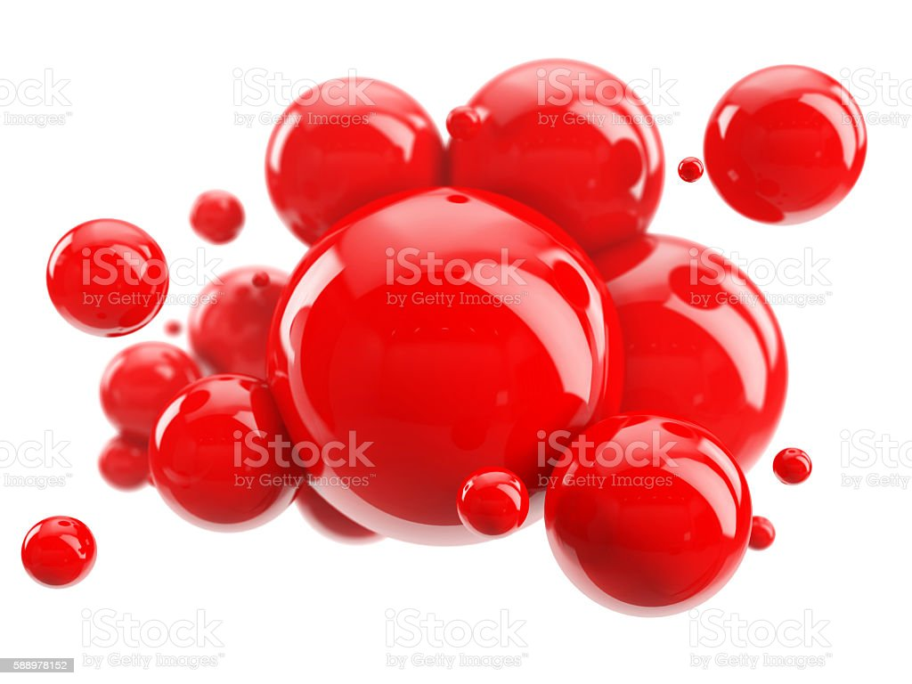 abstract group of red spheres on white - foto de acervo