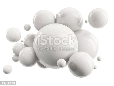 istock abstract group of white spheres on white 587185456