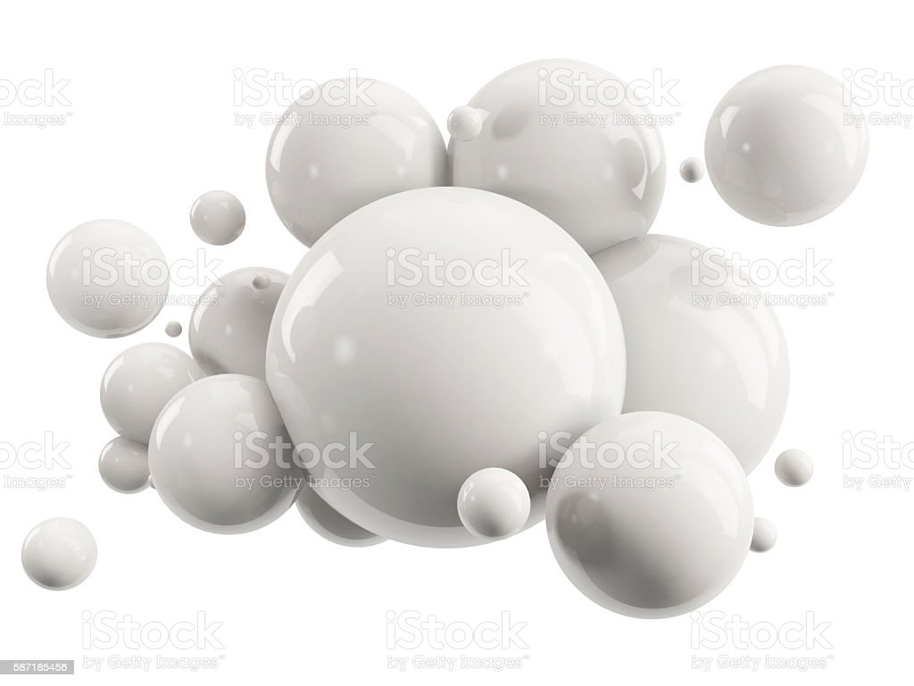abstract group of white spheres on white - foto de stock