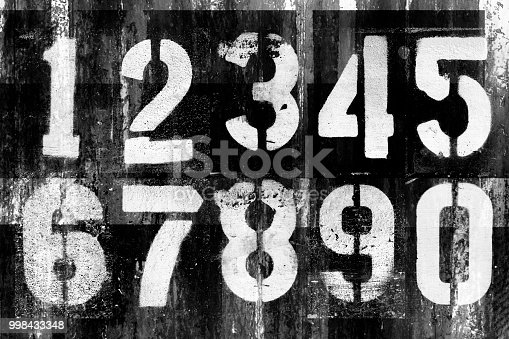 Abstract grunge futuristic background with numbers. Blueprint on old grungy surface. Grungy font design. Cyber punk backdrop