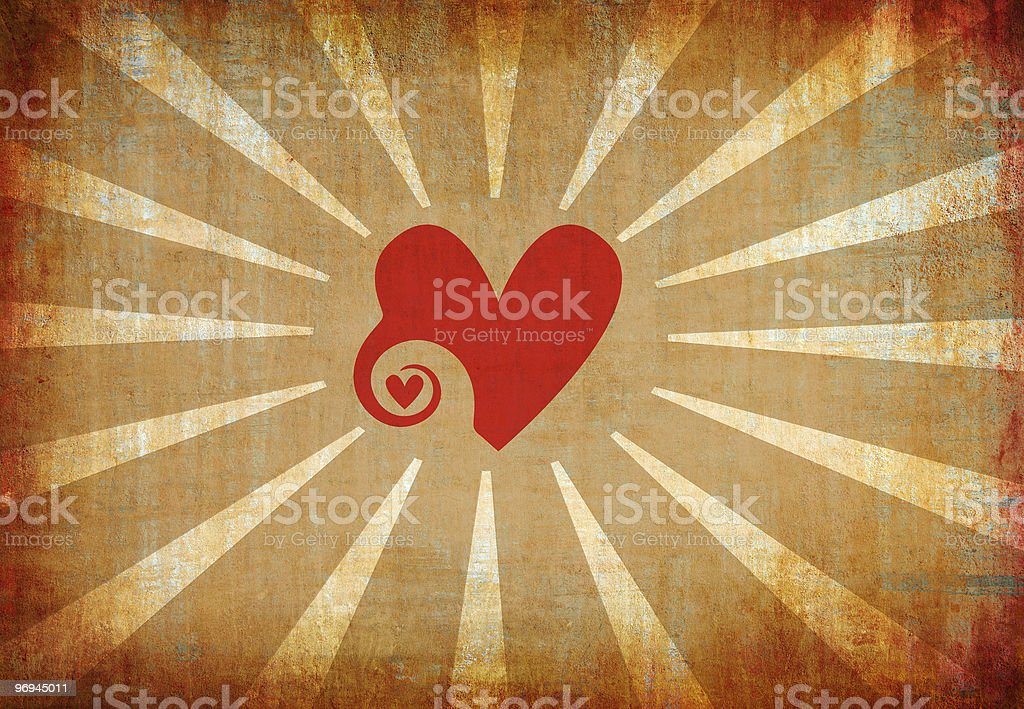 abstract grunge heart background with sun rays royalty-free stock photo