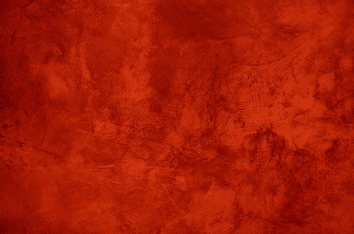 Colourful Abstract Grungy Decorative Red Orange Painted Cement Wall Texture. Handmade Rough Old Paper Background With Copy Space
