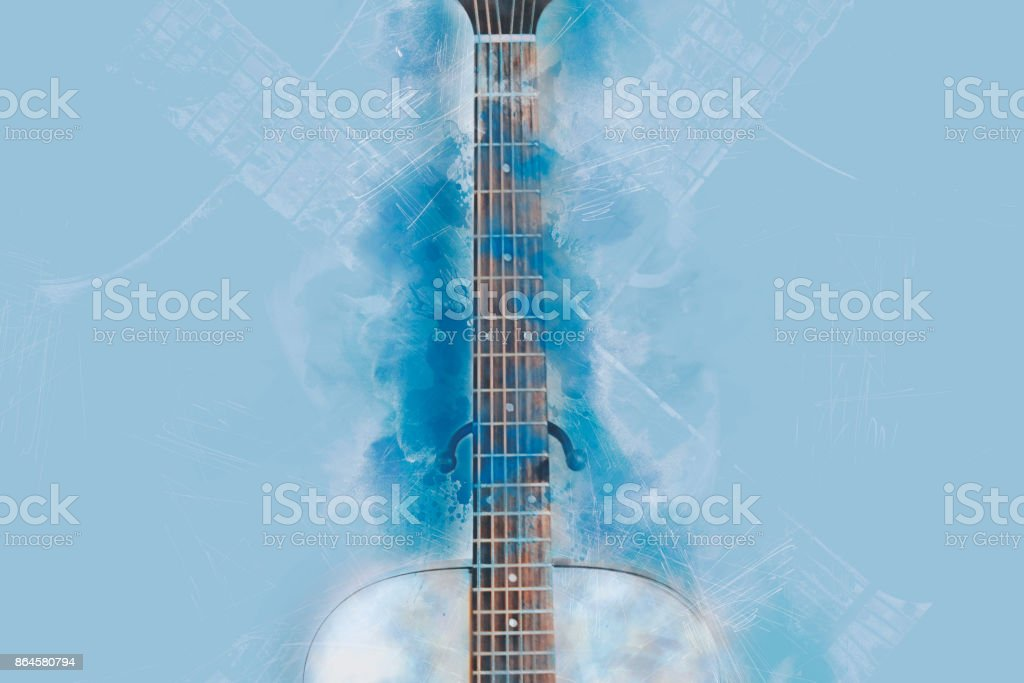 Abstract Guitar in the foreground. Close up, Watercolor painting blue shape. stock photo