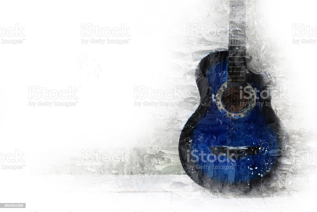 Abstract Guitar in the foreground on Watercolor painting background and Digital illustration brush to art. stock photo