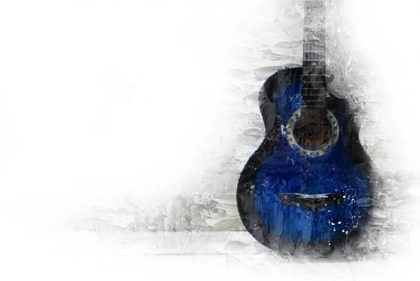 abstrakte gitarre im vordergrund auf aquarell hintergrund und digitale illustration pinsel zur kunst. - blues stock-fotos und bilder