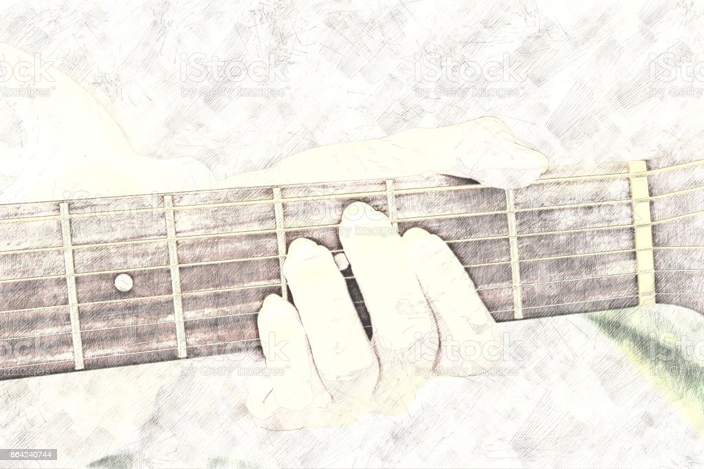 Abstract Guitarist in the foreground. Close up, Watercolor paint royalty-free stock photo