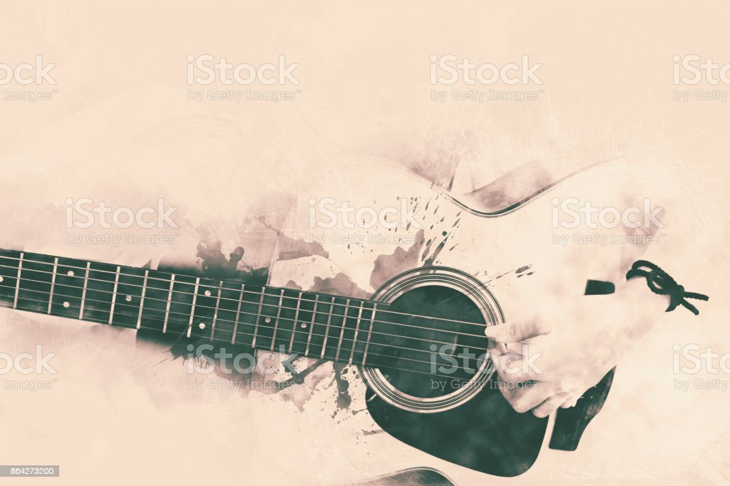 Abstract Guitarist in the foreground. Close up, Watercolor painting background. royalty-free stock photo