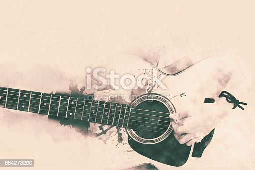 Abstract Guitarist In The Foreground Close Up Watercolor Painting Background Stock Photo & More Pictures of Acoustic Guitar