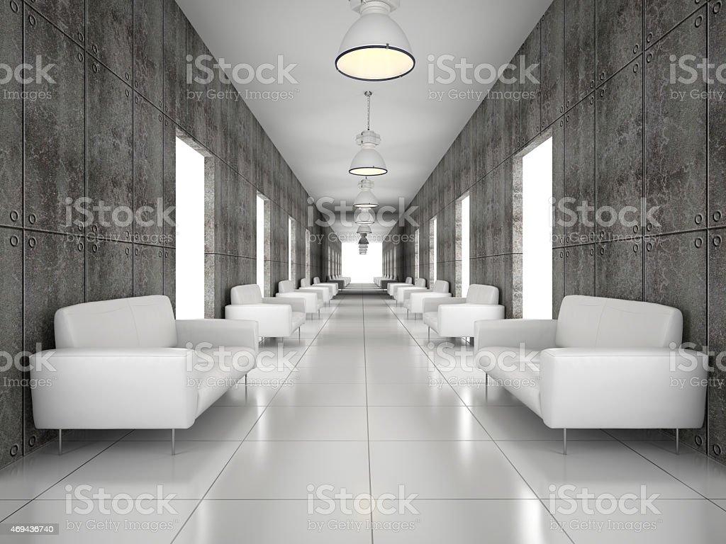 Abstrakte hall mit einer Betonwand 3D-Abbildung – Foto