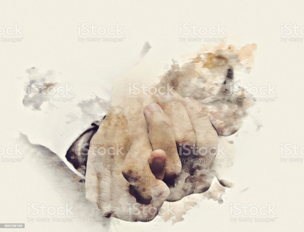 Abstract Hand Couples On Watercolor Painting Background