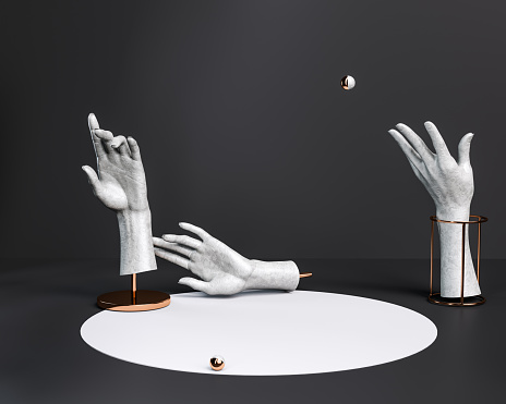 Abstract hand gesture sculptures, antique statue parts, creative black and white background, stage or podium concept, 3d rendering