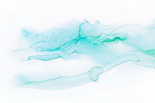Abstract hand painted alcohol ink texture. Blue and white colors. Creative background for your design
