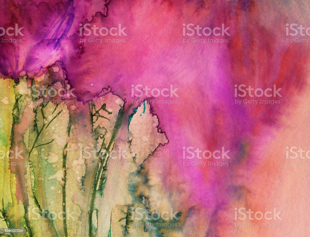 Abstract hand painted background with bright vivid colors stock photo