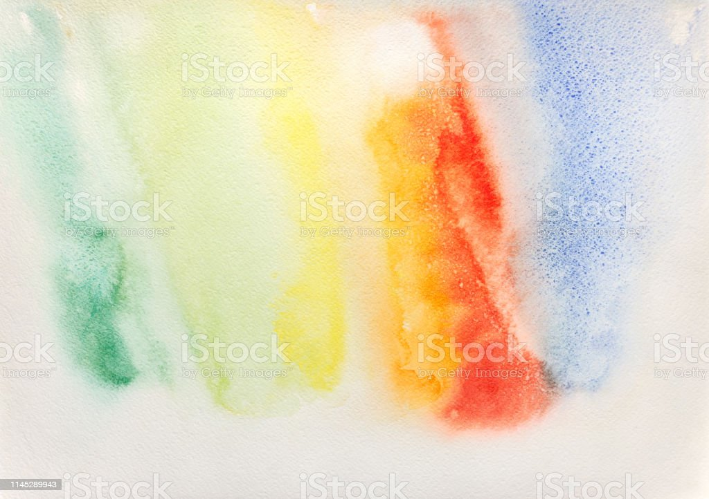 abstract hand painted rainbow watercolor colorful wet background on...
