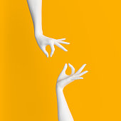 Abstract Hand pose like picking something isolated on yellow. 3d illustration