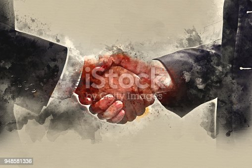 istock Abstract Hand Shake business on watercolor painting background. 948581336