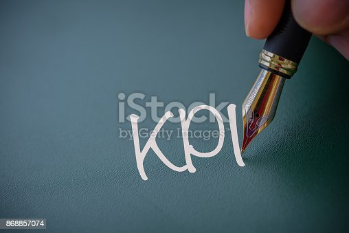 istock Abstract hand writing KPI word  ,Key Performance Indicator, Business achievement concept. 868857074