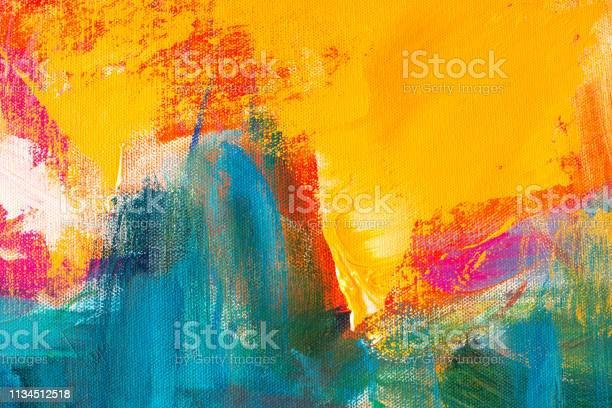 Photo of Abstract Hand-painted Art Background on Canvas